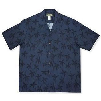 palm breeze black hawaiian rayon shirt