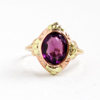Antique 10k Yellow & Rose Gold Simulated Amethyst Flower Ring - Vintage Size 7 Art Deco 1930s Purple Glass Two Tone Fine Jewelry