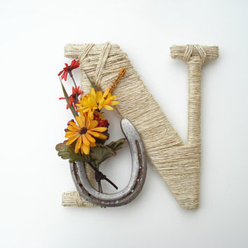 Rustic Wrapped Letter N, Rustic Letter, Country decor, Twine wrapped letter, Horseshoe decor, Rustic Home Decor, Western Letter