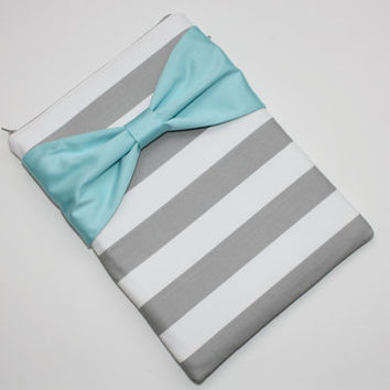 MacBook Pro, MacBook Air Sleeve / Computer Case - Gray and White Stripes with Light Aqua Bow - Double Padded