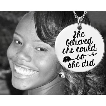 She Believed She Could, So She Did Necklace | Graduation Gift