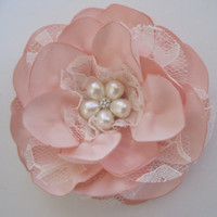 Beautiful Blush Pink Satin and Lace Bridal Hair Clip with Pearl and Rhinestone Accent Bride Mother of the Bride Bridesmaid Prom