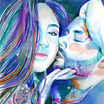 COUPLE WATERCOLOR PORTRAIT - 2 people painting - Anniversary gift