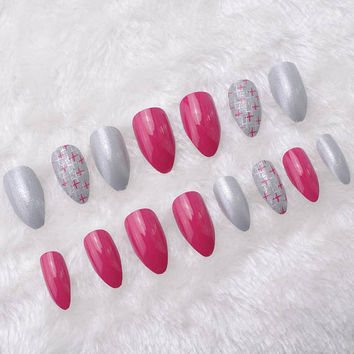 24pcs Pearl Cross Stripe Pattern Red Stiletto False Nails Tips