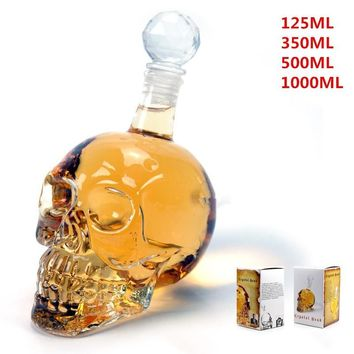 125ml/330ml/500ml/1000ml Crystal Skull Head Shot Glass Bottle Drinking Bar Decanter Vodka Whiskey LIS