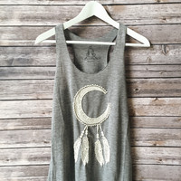 Crochet Dream Catcher Tank (Heather Gray)