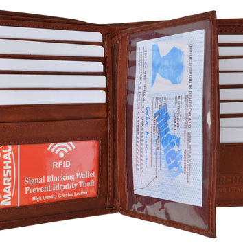 RFID Blocking Bifold Hipster Multi Credit Card ID Holder Wallet Premium Leather RFID 5502 (C)