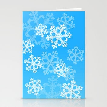 Cute blue snowflakes Stationery Cards by Silvianna