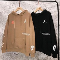 Air Jordan &Clot New fashion letter pattern print hooded long sleeve sweater top