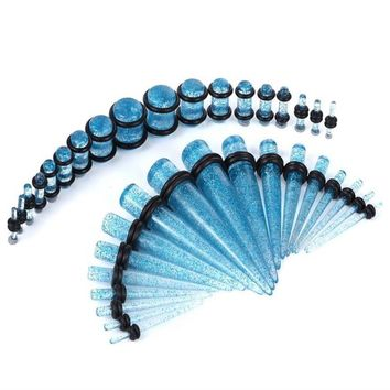 BodyJ4You Gauges Kit 18 Pairs Aqua Glitter Acrylic Tapers & Plugs 14G 12G 10G 8G 6G 4G 2G 0G 00G 36 Pieces