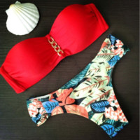 Red Bra Triangle Swimsuit Swimwear Brazilian Bathing Suit