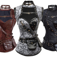 Plus size Steampunk Corset top New Gothic Steel Boned Corsets Bustier Brown High Neck Corselet Brand clothing