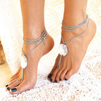 "Women Barefoot Sandals "" Luminous Crystal "", foot jewellery, soleless sandals, ankle jewellery, beach jewellery"