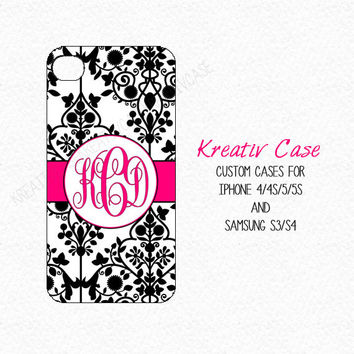 5s Cases, damask Samsung Galaxy S3, Samsung S4 case, iPhone 5s case, phone cover, Personalized iPhone 4 case, damask monogrammed - K142