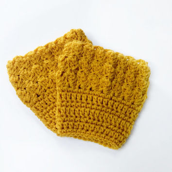 FREE SHIPPING - Crochet, Bobble, Boot, Cuff - Womens - Gold, Yellow