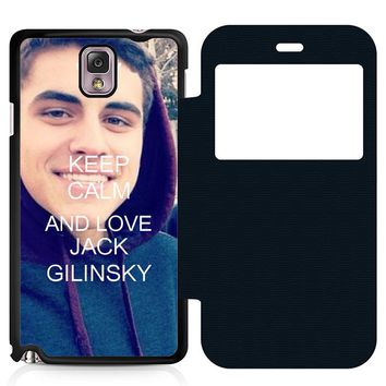 Keep Calm and Love Jack Gilinsky Leather Wallet Flip Case Samsung Galaxy Note 3