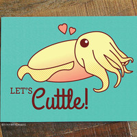 """Funny Valentine Card """"Let's Cuttle!"""" - Cuttlefish card, for Boyfriend Girlfriend Husband Wife or Significant Other, Cute Valentine Card"""