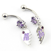"316l Stainless Steel 14g Purple Gems ""Best Friend"" Heart Navel Ring Belly Button Barbell Body Ring 1 Pair"