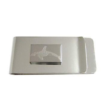 Silver Toned Etched Swimming Killer Whale Orca Money Clip
