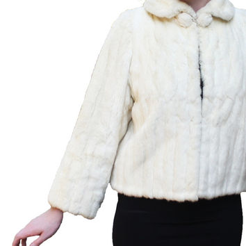 VTG White Mink Fur Coat, Stole, Jacket | Tag: Furs by Diaco | Shawl, Cropped, Bolero, Fall/Winter Wedding Bride | Women's Small/Medium