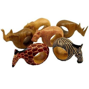 Set of Six Mahogany Wood Animal Napkin Rings - Jedando Handicrafts