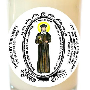 Saint Philip Neri Patron of Joy and Laughter 8 Oz Scented Soy Glass Prayer Candle