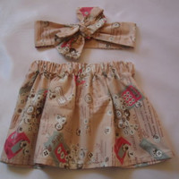 Vintage Baby's Skirt and Headwrap Cute Baby Set Baby Girls Clothes