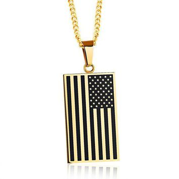 Popular Jewelry Stainless Steel American Flag Pendant Personality Tag Dog License Necklace For Men