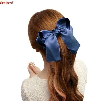 Best Price Women Girls Cute Large Big Satin Hair Hair Clip Boutique Ribbon Bow
