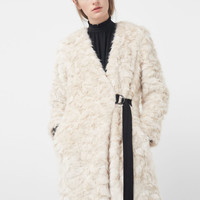 Belt faux fur coat