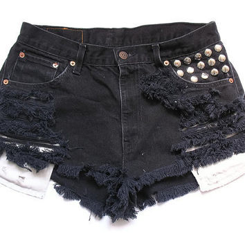 Levi black high waisted shorts XL by deathdiscolovesyou on Etsy