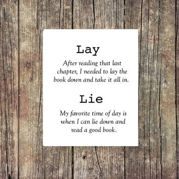 Lay, Lie -Academic Print - Instant Download - Digital Art - Digital Printable - Grammar- Classroom Art -Desk Art - Coffee - Book Print