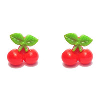 "Handmade Femme Fruit Collection ""Cherry Bomb"" Red Cherry Earrings"