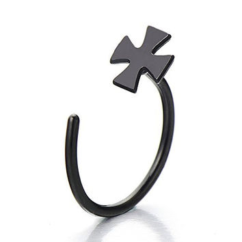 Black Cross Stainless Steel Body Jewelry Piercing Nose Hoop Ring
