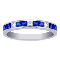Wedding Band - Princess Diamond and Sapphire Channel Set Wedding Band 0.85 tcw. In 14K White Gold