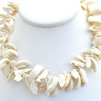"""Vintage Seashell Necklace Hand Cut 18"""""""