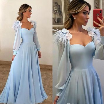 Sky Blue 3D Flowers Prom Dress Evening Dress Long Sleeves