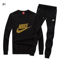 NIKE autumn and winter new casual plus velvet sportswear outdoor running clothes two-piece suit #1