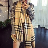 """Burberry"" Classic Popular Women Khaki Plaid Cashmere Cape Scarf Scarves Shawl Accessories"