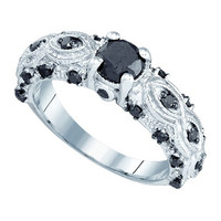 Black Diamond 0.50 Fashion Ring in 10k White Gold 1 ctw