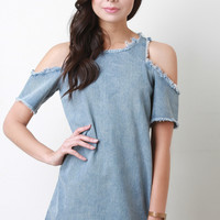 Cold Shoulder Fringed Denim Shift Dress