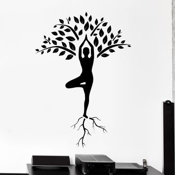Wall Vinyl Decal Yoga Tree Mediatation Zen Om Home Interior Decor Unique Gift z4115