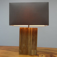 Table Lamp made from Recycled Teak Wood with Gray Fabric Shade | Handmade Wooden Tabletop Light | Ambiance Lighting