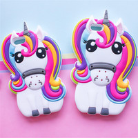 Hot Cute 3D Rainbow Unicorn Horse Animal Cartoon Soft Silicone Phone Cases Cover For iPhone 7 7Plus 5 5G 5S SE 6 6G 6S 6Plus 5.5