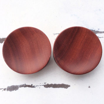 "Red Saba Wood Plugs 8g 6g 4g 2g 0g 00g 7/16"" (11mm) 1/2"" (12mm)"