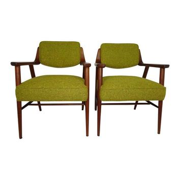 Pre-owned Midcentury Walnut Armchairs Johnson Furniture Co.
