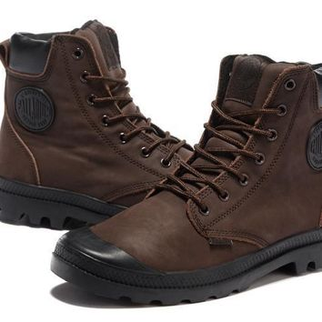 Palladium Pampa Cuff Wp Lux Men Martin Boots Leather Brown Black - Beauty Ticks