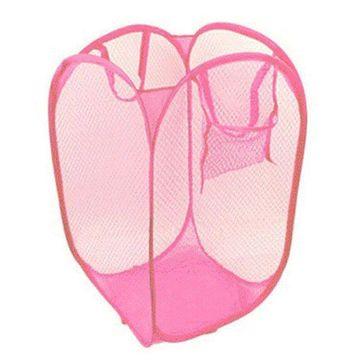 DCCKU7Q 2016 New Foldable Pop Up Washing Clothes Laundry Basket Bag Hamper Mesh Storage