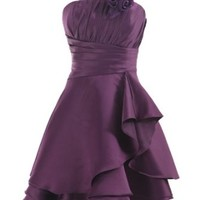 COCOMELODY Women's Knee Length Pleated Flower Satin Formal Dress Grape S