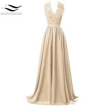 2017 New Style Women's Modest V Neck Open Back Chiffon Long Evening Gown with Lace prom dress